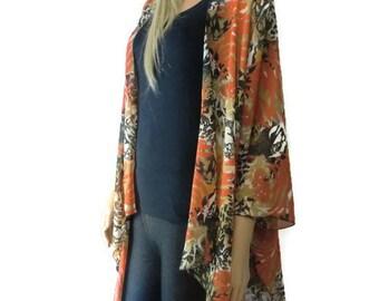 Seville Kimono cardigan Jacket- Coral black,white and beige- Chiffon kimono with abstract print-Ruana cardigan -Layering piece-Many colors