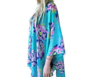 Green Chiffon Kimono-Summer green with pink,cobalt and yellow--Lagenlook style-Kimono cardigan -  Chiffon summer collection