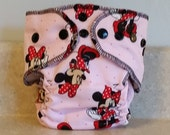 Fitted Preemie Newborn Cloth Diaper- 4 to 9 pounds- Mini Mouse- 16014