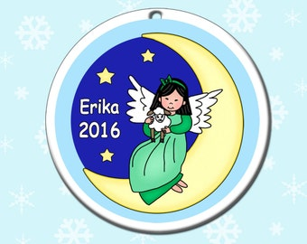 Angel Personalized Christmas Ornament - Moon