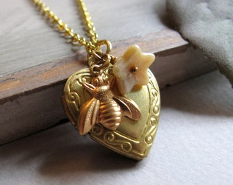 Gold Heart Locket, Bumblebee Charm Flower Necklace Locket, Vintage Girls Locket, Yellow - SWEET AS HONEY