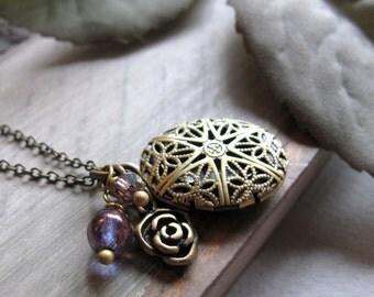Small Oval Locket, Brass Filigree Locket Necklace, Purple Charm Bridesmaid Lockets - PLUM ROSE