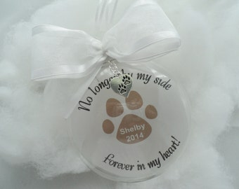 """In Memory - Memorial Ornament  Glass """"No Longer By My Side"""" Pet FREE CHARM"""