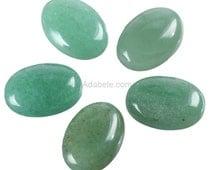 2pcs AAA Natural Green Aventurine Oval Cabochon Flatback Semi-precious Gemstone beads 18x13mm #GO12-G