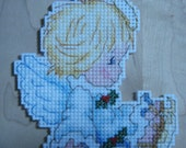 Cross stitched ANGELIC ANGEL with SKATES Christmas Ornament