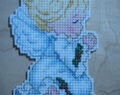 Reserved for kathyhod ***** Cross stitched ANGELIC ANGEL Praying Christmas Ornament
