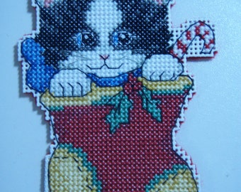 Cross Stitched MERRY CHRISTMAS KITTIE #2 Ornament