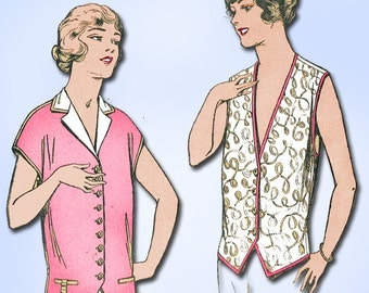 1920s Vintage Pictorial Review Sewing Pattern 2226 Misses Waistcoat Blouse 34 B