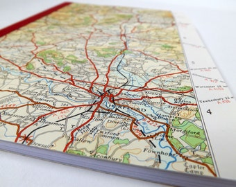 South Wales #3 - Hereford - Recycled Vintage Map Notebook