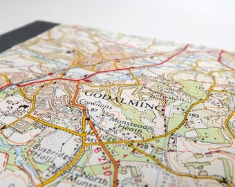 Guildford #6 - Godalming - Recycled Vintage Map Notebook