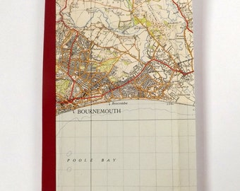 Bournemouth 1940 #1 - Bournemouth - Recycled Vintage Map Notebook