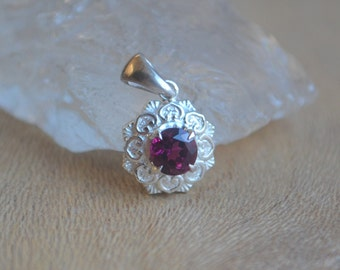 Hand Engraved Double Petal Camellia Pendant in Argentium Silver with Pink Tourmaline