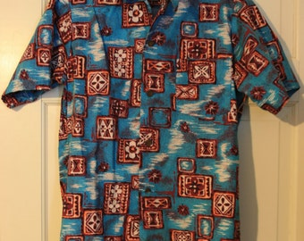 1960s red and marroon Island Fashions men Hawaiian shirt