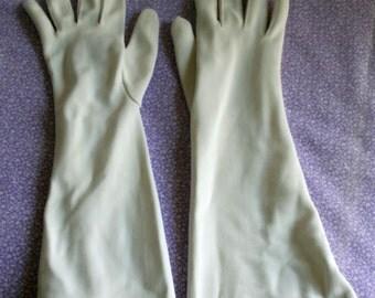 Vintage womens white nylon mid arm length gloves 1950s 1960s