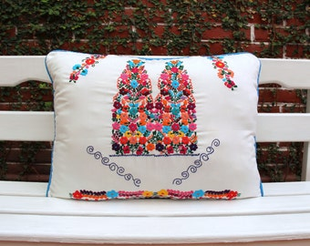 White  and Multi colored Puebla Collection  Sham created from huipil kaftans