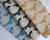 Cloth Napkins, Hand Printed Birds, Choose Your Color, Set of 4 Natural Linen / Cotton Blend