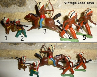 SOLD INDIVIDUALLY Vintage Native American Indian Lead Toy Figures. Circa 1930s Some Paint Loss, Overall Very Nice Condition.