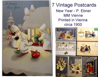 7 Antique New Years Post Cards. Vienna. Signed Pauli Ebner. Gorgeous Snow Angels, Champagne, Charming Illustrations. Unused. Circa 1900