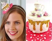 Tea Party Hat, Tea Party Headband,Tea Party Headpiece, Alice in wonderland Hat ,Cake Fascinator Headband, Cake Headband, Cake Hat
