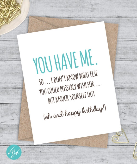 Birthday Card Boyfriend Card Funny Birthday Card By FlairandPaper