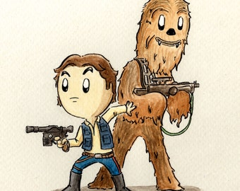 Han and Chewie - A4 Signed Print.