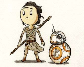 Rey and BB-8 A4 Signed Print.