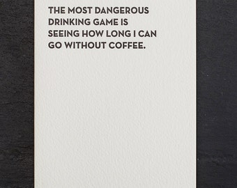 drinking game. letterpress card. #913