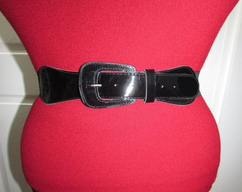 Vintage Black Patent Faux Leather Buckle Elastic Stretch Cinch Wide Belt S/M