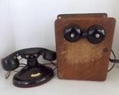 Antique Phone With Original Oak Ringer Box