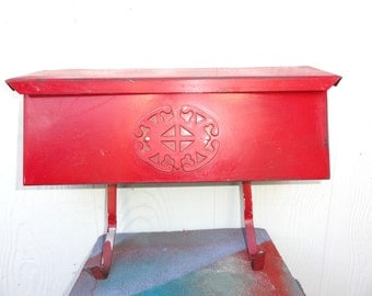 Vintage Mail Box Red Architectural Mailbox Wall Mount Raised Accent Design