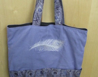 Elegant Silver Peacock Plume Tote Bag Shopping Bag Diaper Bag
