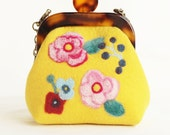 wool felt bags and purses with many flowers