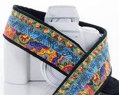 Bright Floral Camera Strap, dSLR, SLR, Bright Rainbow colors, Mirrorless Camera, Canon, Nikon, Neck Strap, Photography, 109