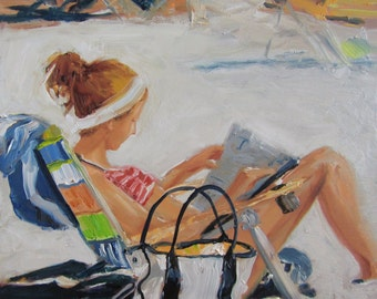 Wall Art, Ready to Hang Art, Beach Decor, Beach Art, Sea Art, Ocean Art 'Beach Scene' by AndolsekArt