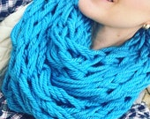 DECEMBER SPECIAL Cozy Knit Infinity Scarf, Arm knit, turquoise, teal, Neck scarf, infinity scarf, knit scarf, circle scarf, fall, winter