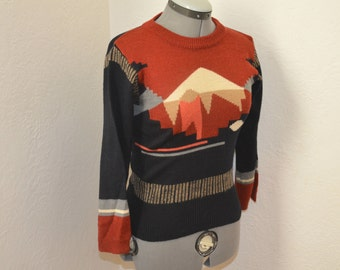 Southwestern Landscape Fitted Sweater- XS / S