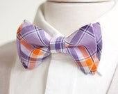 The Beau- men's organic madras purple and orange plaid double stacked pre-tied bow tie // groomsmen bow ties // custom bow ties