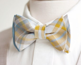 Bow Tie, Mens Bow Tie, Bowtie, Bowties, Bow Ties, Groomsmen Bow Ties, Wedding Bow Ties, Tie - Steel blue, Grey, Mustard Organic Madras Plaid