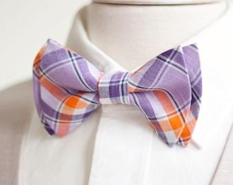 Bow Tie, Mens Bow Tie, Bowtie, Bowties, Bow Ties, Bowties, Groomsmen Bow Ties, Wedding Bow Ties - Purple And Orange Organic Madras Plaid