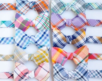 Bow Ties, Bow Tie, Bowties, Mens Bow Ties, Freestyle Bow Ties, Self-Tie Bow Ties, Wedding Bow Ties, Groomsmen Bow Ties- Organic Madras Plaid