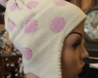 Alpaca Ear Flap Cap - Beautiful in Ivory and light pink
