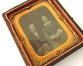 Antique Ambrotype Half Case 1800's Couple Tintype