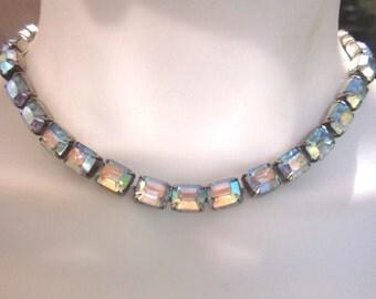 Rhinestone Vintage Necklace Choker Blue Baguette Crystals