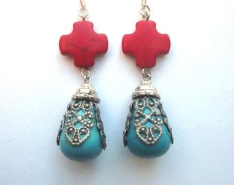 Turquoise Assemblage Earrings Red Cross Dangle Magnesite Earrings