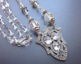 Art Nouveau Rhinestone Crystal Bridal Necklace Repurposed Assemblage Statement Jewelry