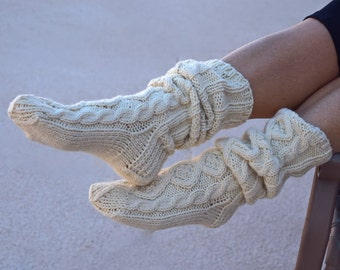 Slouchy knit socks-long socks-cable knit socks-cream ivory-gift for her-aran knit-Christmas gift-womans gift-winter holidays-below the knee