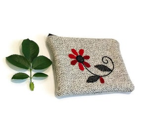 Zippered pouch embroidery applique flower gray red black wool