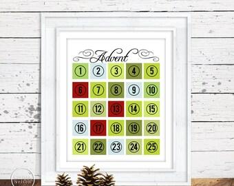 Advent Calendar Countdown to Christmas Instant Printable