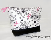 BC Ribbons with Black Filigree - Ladies Zip Pouch (MEDIUM)