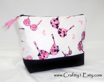 Pink BC Ribbons with Bras - Ladies Zip Pouch (MEDIUM)